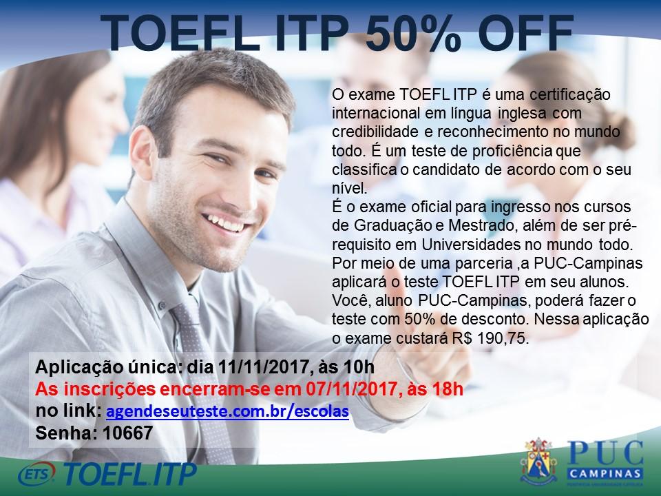 cartaz 2° aplicação TOEFL