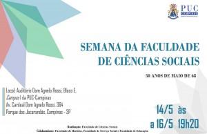 Semana da Faculdade de Ciências Sociais: 50 anos de maio de 68 @ Auditório Dom Agnelo Rossi    São Paulo   Brasil