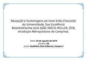 Recepção ao novo Grão-Chanceler @ Auditório Dom Gilberto